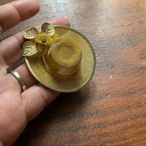 Vintage Gold Tone Metal Hat Brooch